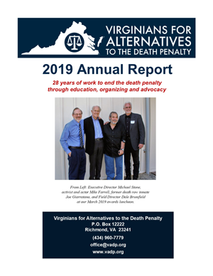 Cover of the 2019 VADP Annual Report. Click to Download (PDF)